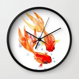 Goldfish Nursery Illustration Feng Shui Two Fish Art Wall Clock