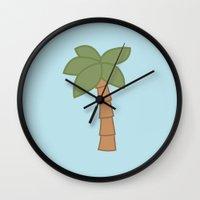 palm tree Wall Clocks featuring Palm Tree by George Hatzis