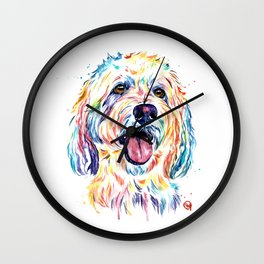Goldendoodle, Golden Doodle - Dog Portrait Watercolor Painting Wall Clock