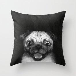 Snuggle pug Throw Pillow