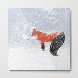 Fantasy Red Fox Walking in the Winter Snow Metal Print
