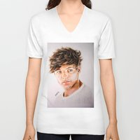 louis V-neck T-shirts featuring Louis  by Drawpassionn