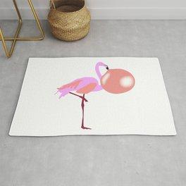 Bubble Gum Flamingo Blowing Bubble Rug