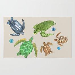 Sea Turtle Types Rug