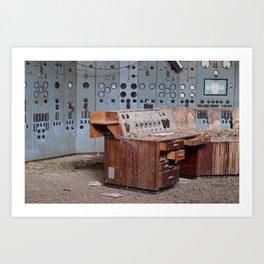 Derelict Control Room Desk Art Print