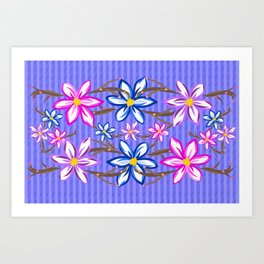 Violet Stripes with Flowers Art Print