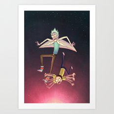 Rick and Morty - Pink Gravity Art Print