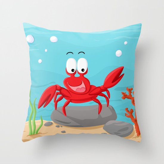 Crab from the Sea series Throw Pillow