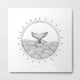 Whale in Waves Metal Print