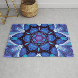 Digital Art Bue and Purple Kaleidoscope - Geometric Colorful Rug