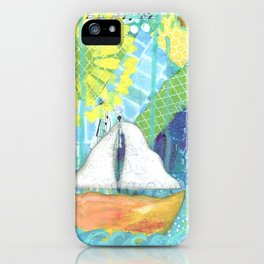 Sailboat Painting, Child's Room Decor, Sailing Art, Lake Art, Blue, Green, Yellow, Orange, Nautical iPhone Case