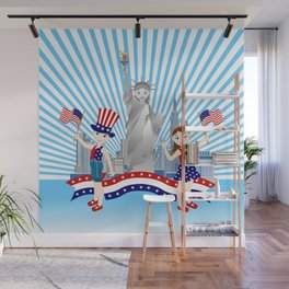 American children on Independence Day Wall Mural