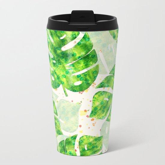 Tropical Monstera Leaves Unique Pattern Metal Travel Mug
