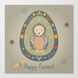 Festive Easter Egg with Cute Character Canvas Print