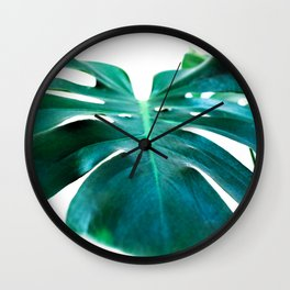 Monstera close up tropical leaf green turquoise photograhy Wall Clock