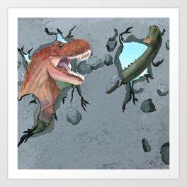 Two Dinosaurs Breaking Through a Wall Art Print