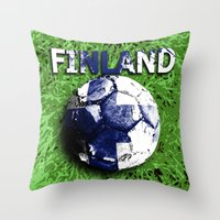 finland Throw Pillows featuring Old football (Finland) by seb mcnulty
