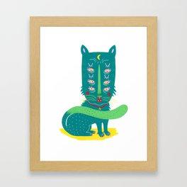 Lunar Kitty Framed Art Print