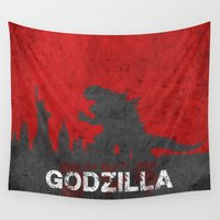 godzilla Wall Tapestries featuring Godzilla by WatercolorGirlArt