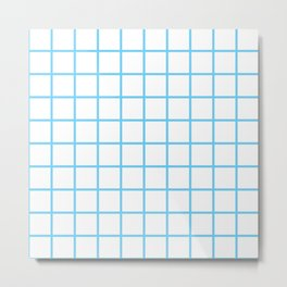 Light Blue Grid Pattern Metal Print