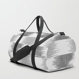 Modern black gray white ikat pattern Duffle Bag