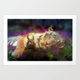 Tiger and Butterfly Art Print