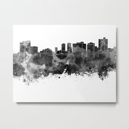 Fort Worth skyline in black watercolor Metal Print