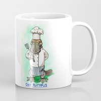 platypus Mugs featuring Chef Platypus by Jessie L.P.