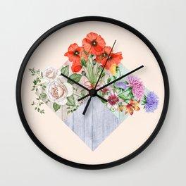 Floral Blocks Wall Clock