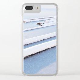 Snow frozen lake, snow covered logs, frozen, Lake, landscape Clear iPhone Case