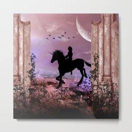 The unicorn with fairy Metal Print