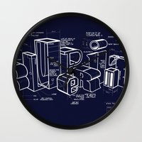 blueprint Wall Clocks featuring Blueprint by Matthew McKenna