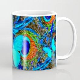 ELECTRIC NEON BLUE BUTTERFLIES & BLUE PEACOCK FEATHERS Coffee Mug
