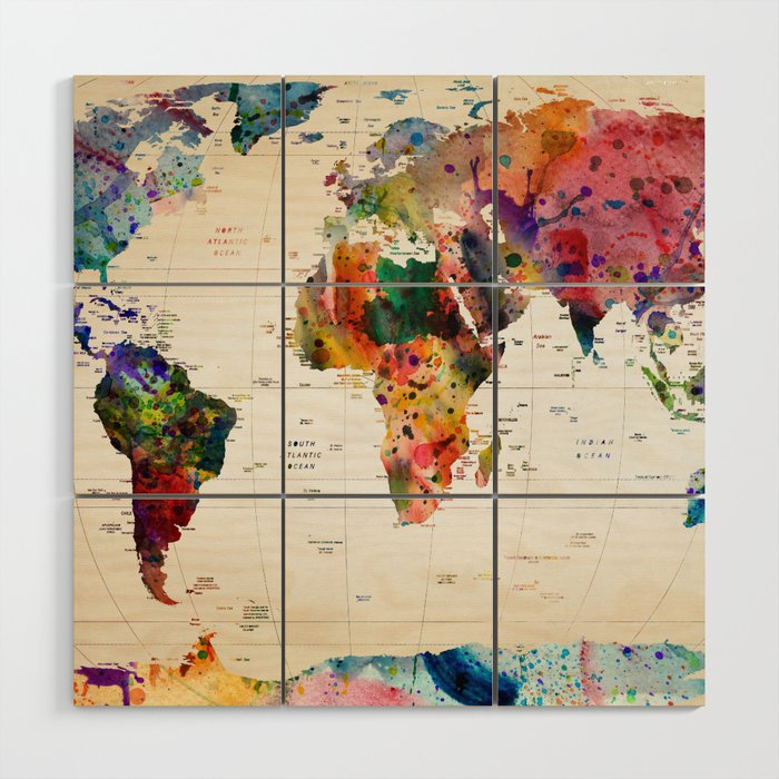 map Wood Wall Art