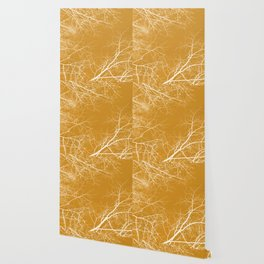 Branches Impressions on Yellow Wallpaper