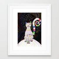 space cat Framed Art Prints featuring Space cat by ezgi karaata