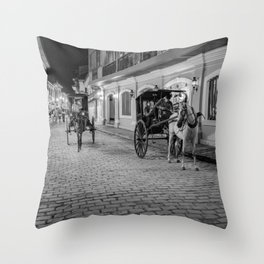 Vigan City, Philippines (black and white) Throw Pillow