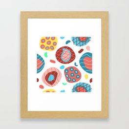 Colorful Irregular Shapes Circles Lines and Dots Framed Art Print