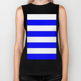 Wide Horizontal Stripes - White and Blue Biker Tank