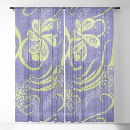 Polynesian Kiwi Lime Tropcal Floral Sheer Curtain