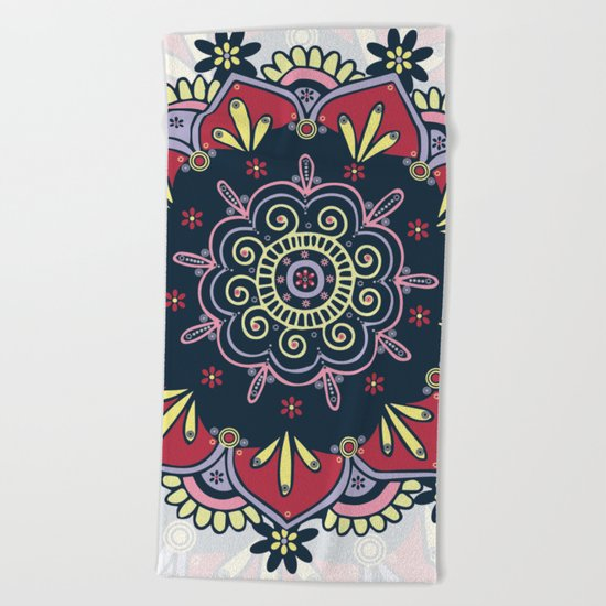 Bright & Bold Red Yellow Pink Purple Bohemian Mandala Beach Towel