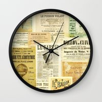 ballon Wall Clocks featuring Le Ballon by Ephemera's Vintage Garden