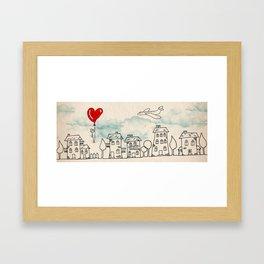 Cartoon city - lover Framed Art Print