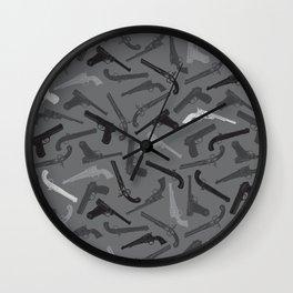 Handgun Silhouettes Wall Clock