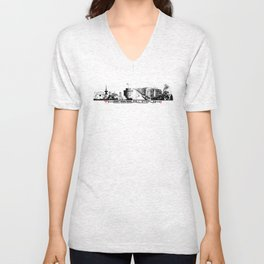 Thessaloniki skyline city Unisex V-Neck
