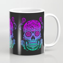 Sugar Skull Neon Flower Coffee Mug