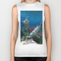 dolphins Biker Tanks featuring Dolphins by Simone Gatterwe