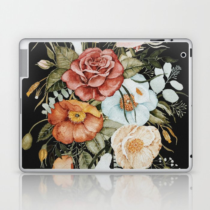 Roses and Poppies Bouquet on Charcoal Black Laptop & iPad Skin