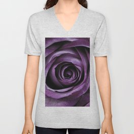 Purple Rose Decorative Flower Unisex V-Neck