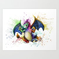 charizard Art Prints featuring Charizard by Kelsey Yurkow